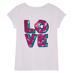Total Girl Short Sleeve Sequin T-Shirt-Preschool Girls