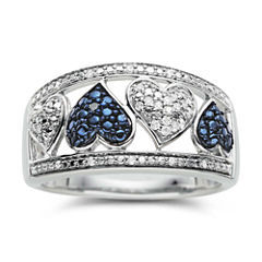 1/10 CT. T. W. White & Color-Enhanced Blue Diamond Heart Ring