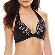 Liz Claiborne® Lasercut Halter Swim Top
