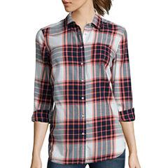 Stylus™ Long-Sleeve Back-Pleat Oversized Shirt