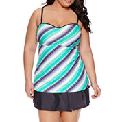 Free Country Stripe Bandeau Swimsuit Top-Plus