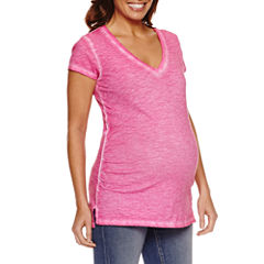 a.n.a Short Sleeve V Neck T-Shirt-Womens Maternity