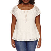 Self Esteem Short Sleeve Lace Peplum 2Fer Top -Juniors Plus