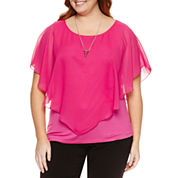 Alyx Short Sleeve Round Neck Chiffon Blouse-Plus