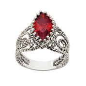 Sparkle Allure Womens Red Cubic Zirconia Silver Over Brass