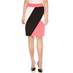 Black Label by Evan-Picone Colorblock Pencil Skirt