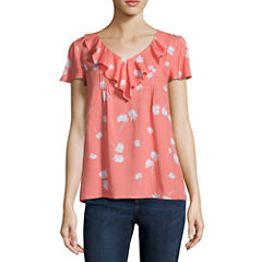 St. John's Bay Short Sleeve V Neck Rayon Blouse