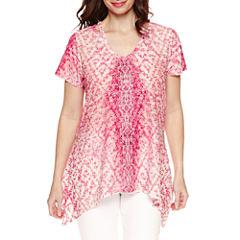 Gloria Vanderbilt Short Sleeve Woven Pattern Blouse