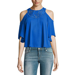 Decree Cold Shoulder Lace Inset Top - Juniors