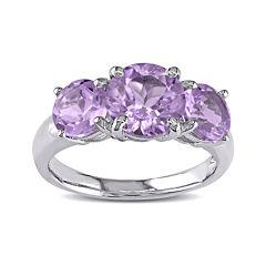 Genuine Amethyst 3-Stone Sterling Silver Ring