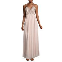 My Michelle Sleeveless Beaded Evening Gown-Juniors