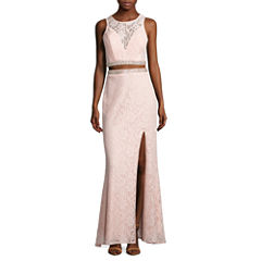 City Triangle Sleeveless Lace Evening Gown-Juniors
