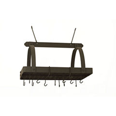Old Dutch Graphite Rectangular Hanging Pot Rack with Grid and 24 Hooks