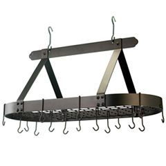 Old Dutch Oiled Bronze Oval Hanging Pot Rack withGrid and 16 Hooks