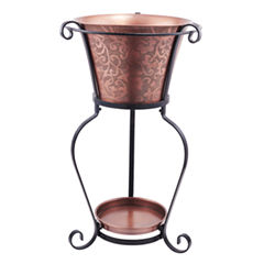 Old Dutch Solid Copper Etched Beverage Tub with Stand 5 Gal