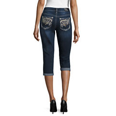 Love Indigo Wing Embellished Back Pocket Capris
