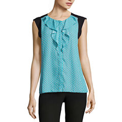 Worthington Sleeveless Ruffle Front Blouse