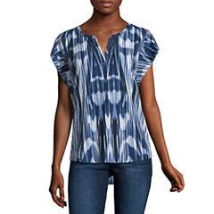 Liz Claiborne Sleeveless Split Crew Neck T-Shirt