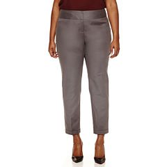 Worthington® Wide Waistband Double Cotton Slim Pants - Plus