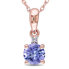 Round Genuine Tanzanite and Diamond-Accent 10K Rose Gold Pendant Necklace