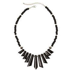 Mixit™ Black Wood Spike Bead Boho Necklace