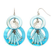 Aris by Treska Aqua Shell Double-Circle Earrings