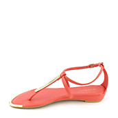 88fd61f0c Bamboo Lottie-51 coral thong wedge sandal. PreviousNext
