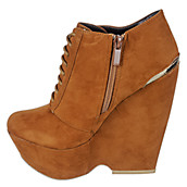 Bamboo Women's Lace-Up Wedge Boot Porter-06. PreviousNext