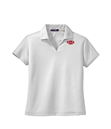 Women's Sport Tek Ladies Dri-Mesh; V-Neck Sport Shirt in White