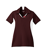Women's Sport Tek Ladies Side Blocked Micropique Sport-Wick; Sport Shirt in Maroon/White