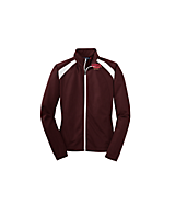 Women's Sport Tek Ladies Tricot Track Jacket in Maroon/White