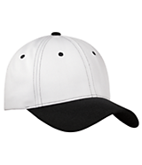 Men's Sport Tek Sport-Wick; Contrast Bill Cap in White/Black