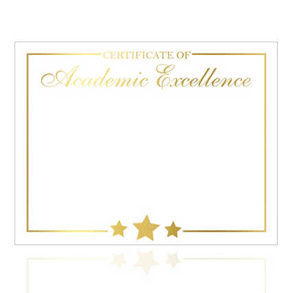 Foil Certificate Paper - Star Accent - Academic Excellence