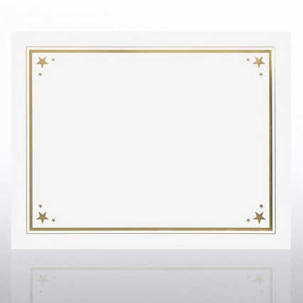 Foil Certificate Paper - Border Stars - White