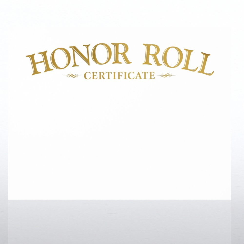 Foil-Stamped Certificate Paper - Honor Roll Award - White
