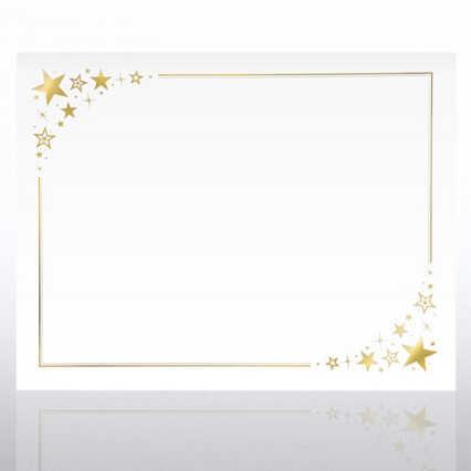 Foil-Stamped Certificate Paper - Corner Stars - White