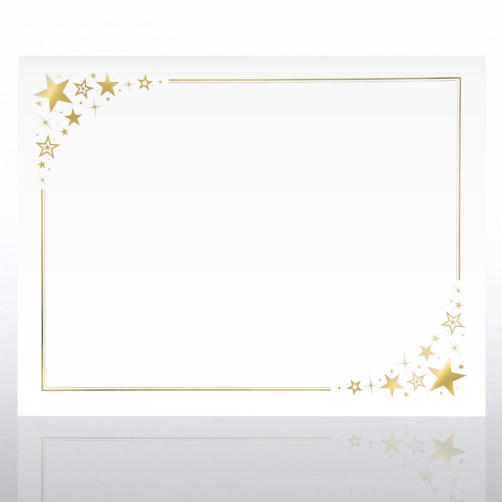 View larger image of Foil-Stamped Certificate Paper - Corner Stars - White