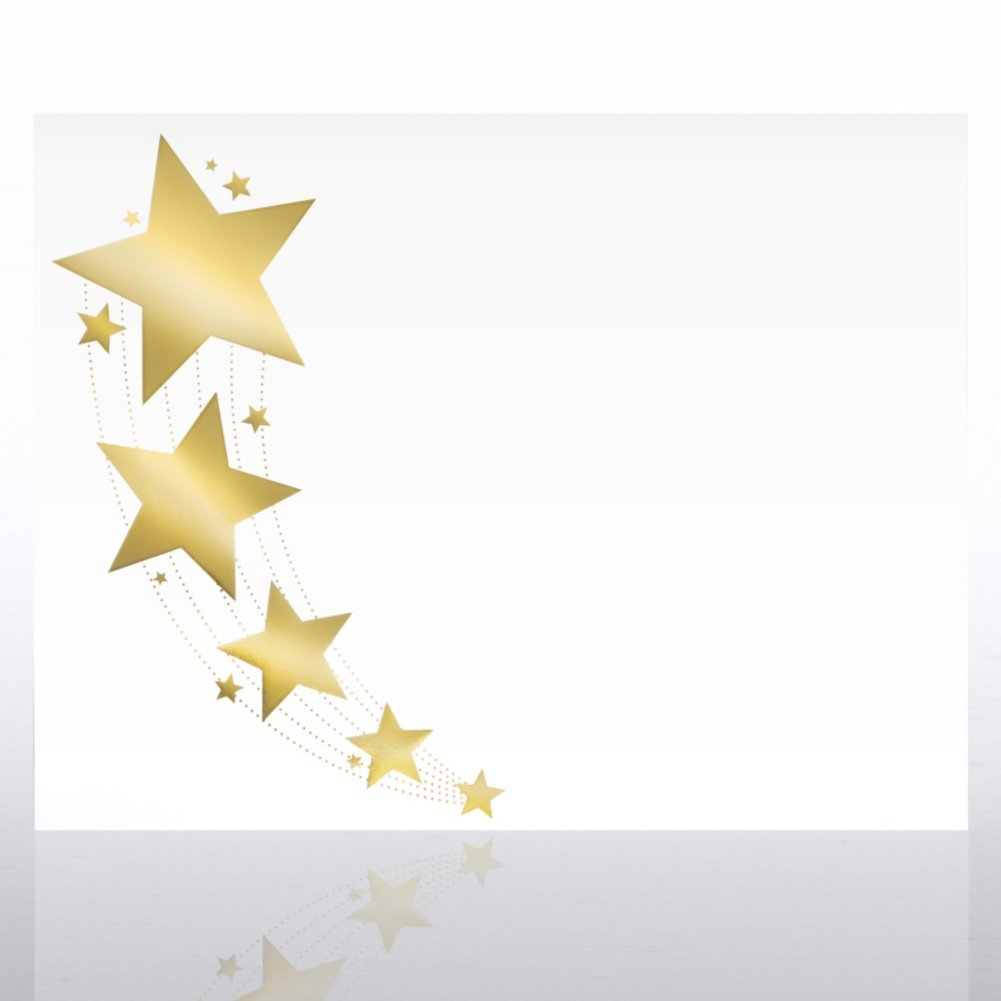Foil-Stamped Certificate Paper - Shooting Star Border -White