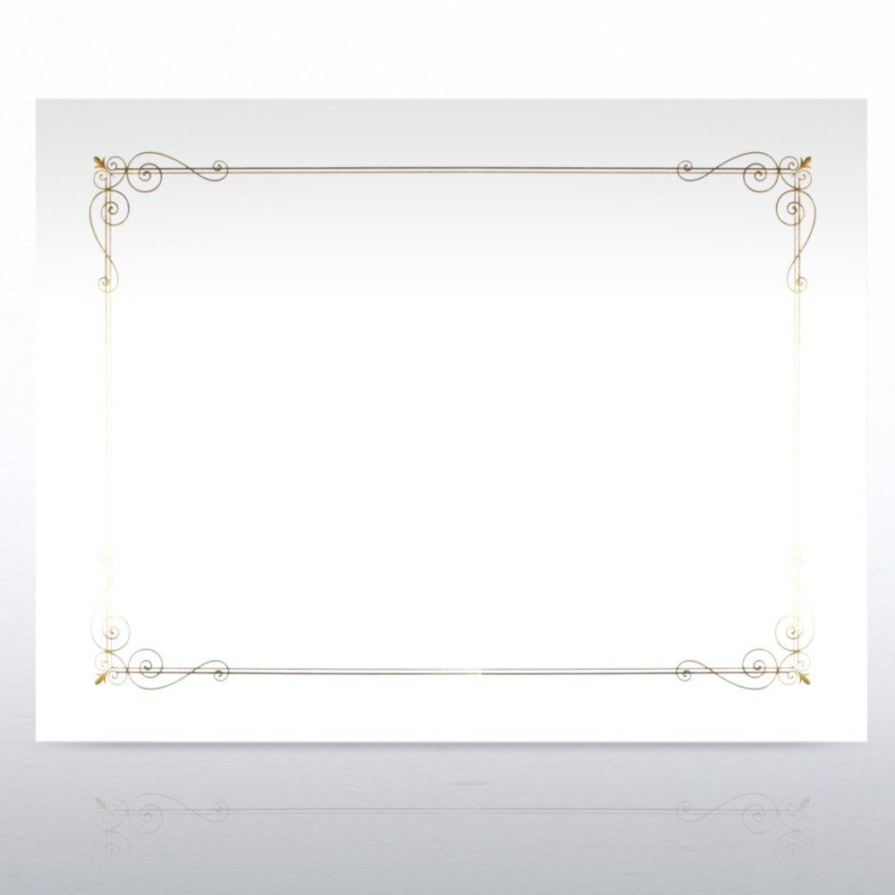 Foil-Stamped Certificate Paper - Border Design - White