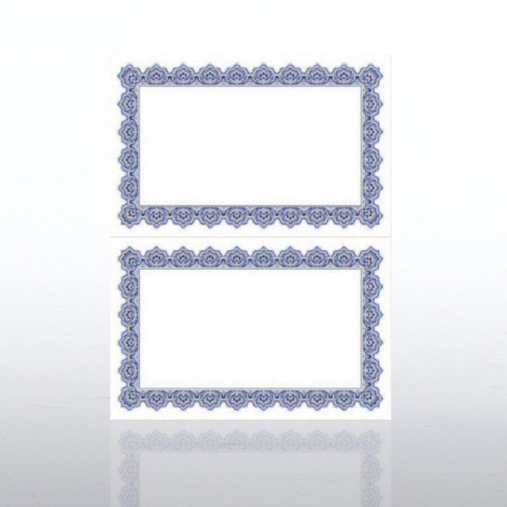 Certificate Paper - Scallop 2 Color - Half-Size - Blue/Gold