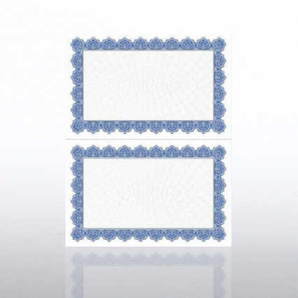 Certificate Paper - Scallop - Half-Size - Royal Blue