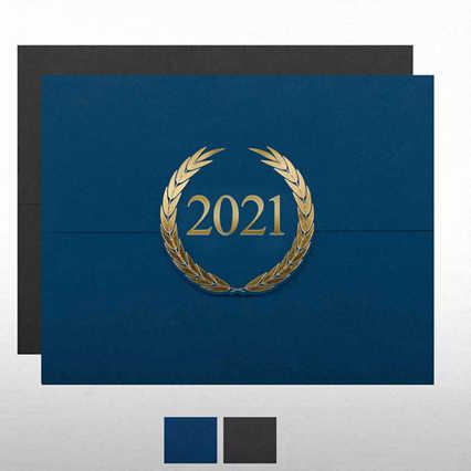 Foil-Stamped Certificate Folder - Laurels - 2021