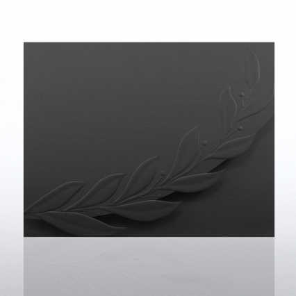 Certificate Folder - Embossed Laurel Flap - Black
