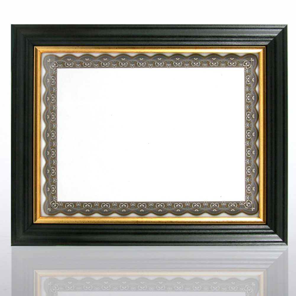 Black Wooden Frame with Gold Trim