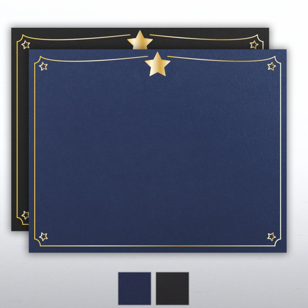 Foil Stamped Certificate Cover - Star Border