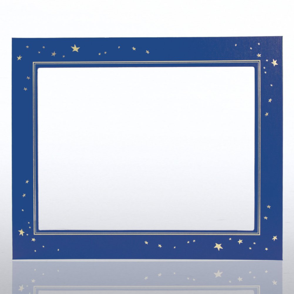 View larger image of Leatherette Frame - Gold Foil Stars - Blue
