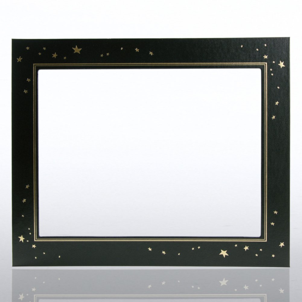 View larger image of Leatherette Frame - Gold Foil Stars - Black