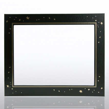 Leatherette Frame - Gold Foil Stars - Black