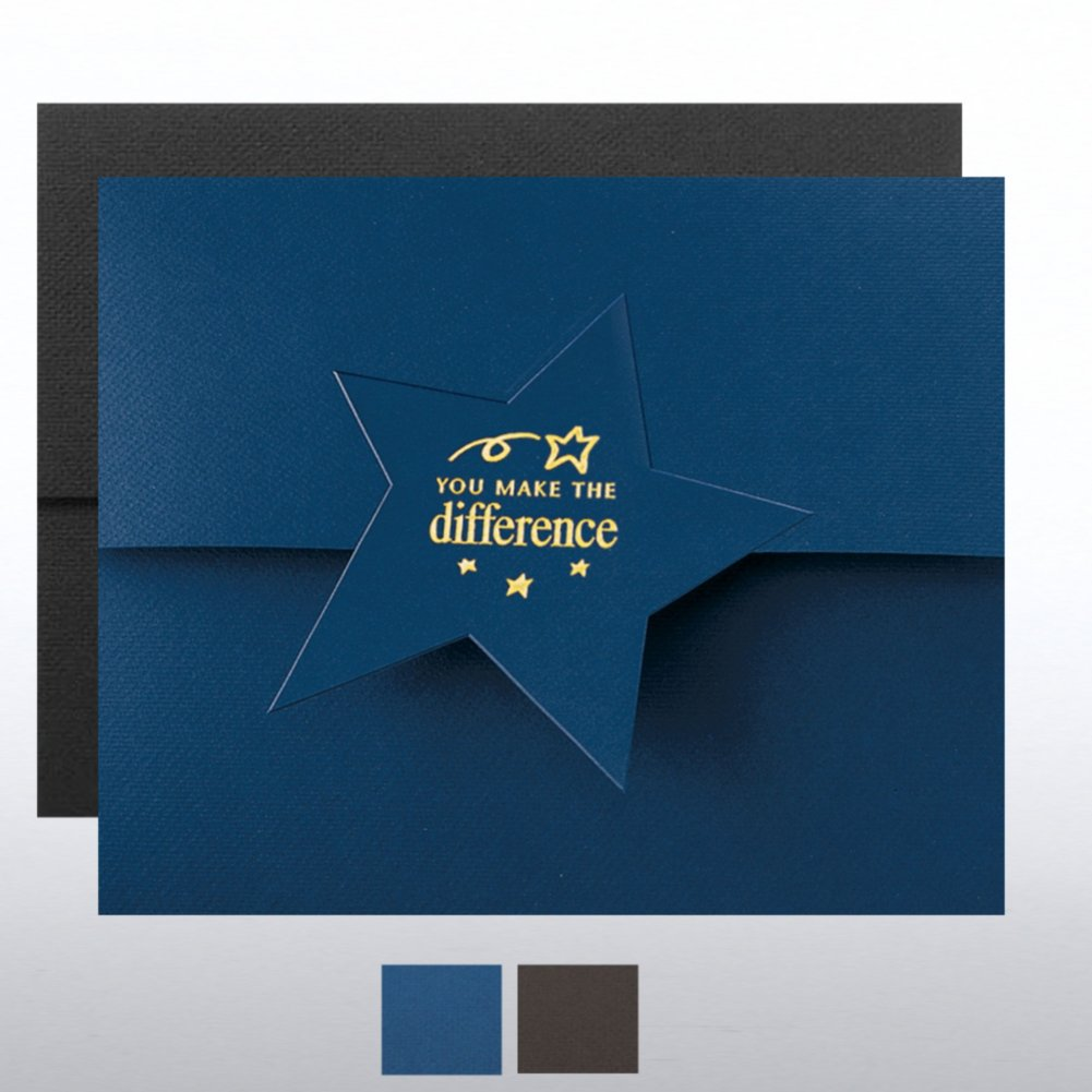 View larger image of You Make the Difference Star Flap Foil Certificate Folder