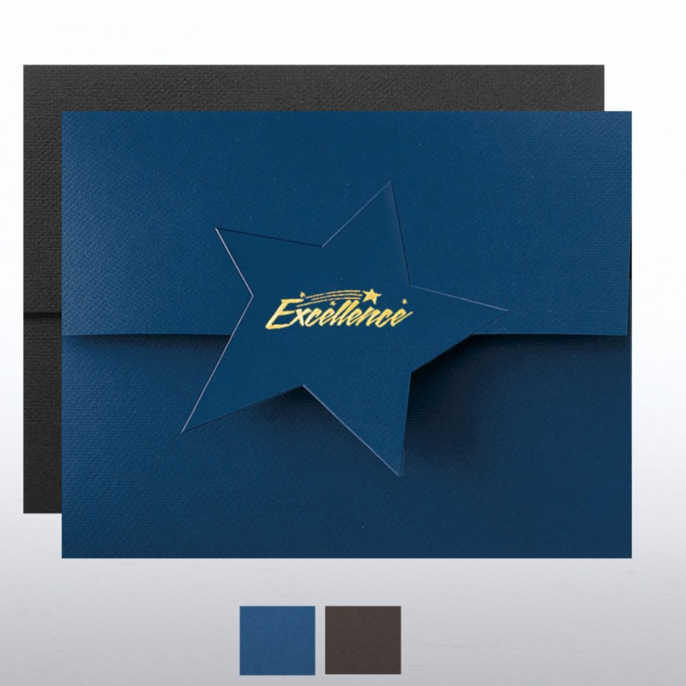 View larger image of Excellence Star Flap Foil Certificate Folder